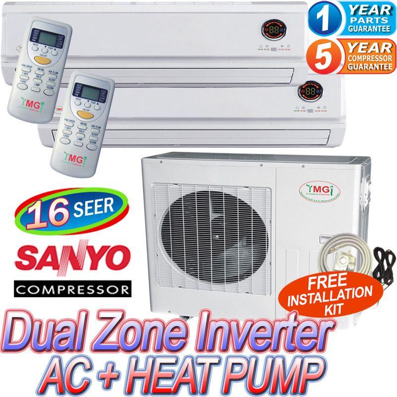 Air Conditioner AC Heat Pump, 21000 BTU Dual Zone A/C Heater