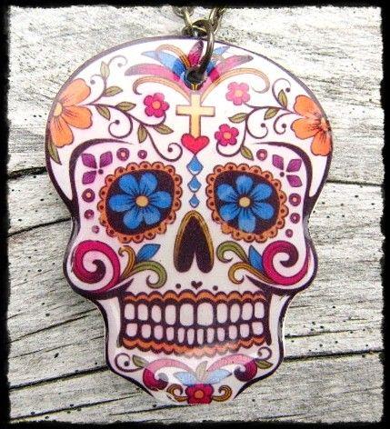 Dia De Los Muertos Day of the Dead Cameo Gothic Red Locket Black