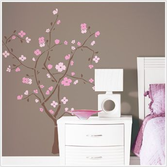PINK CHERRY BLOSSOM TREE Wall Stickers Flowers Decals
