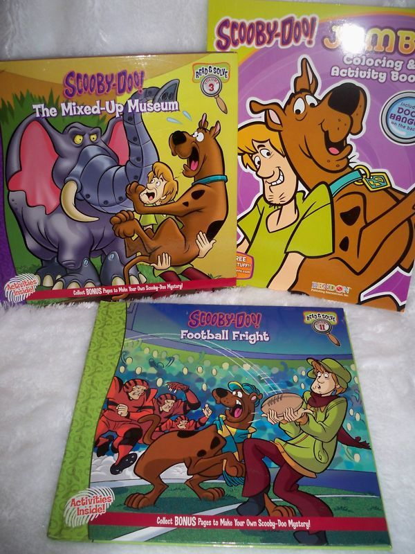 LOT OF 3 NEW SCOOBY DOO MYSTERY BOOKS & COLORING BK