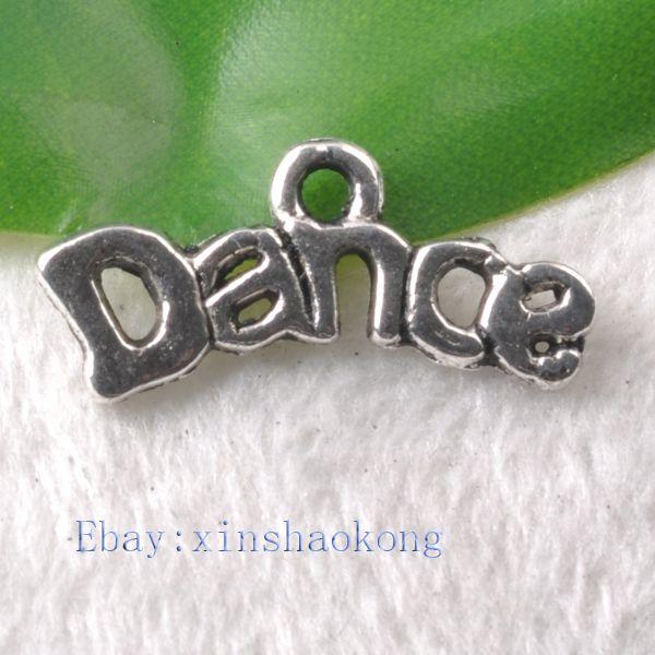 FREE SHIP 100pcs Tibetan Silver Fashion Dance Words Charm Pendents