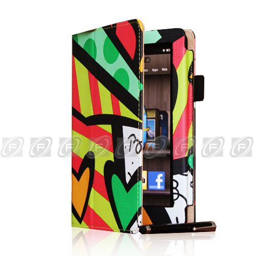 Kindle Fire Folio PU Leather Case Cover/Protector/Car Charger/USB