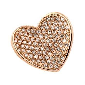 20CT FINE PAVE SET DIAMOND HEART PENDANT NECKLACE 14K ROSE PINK GOLD