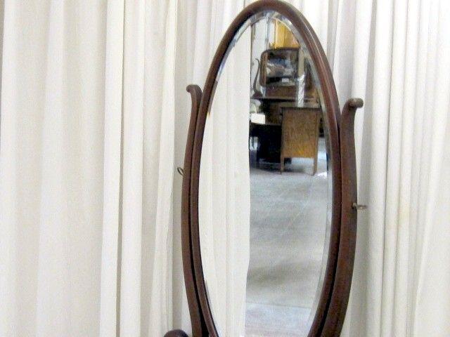 Antique Mahogany Princess Dresser w Full Length Mirror