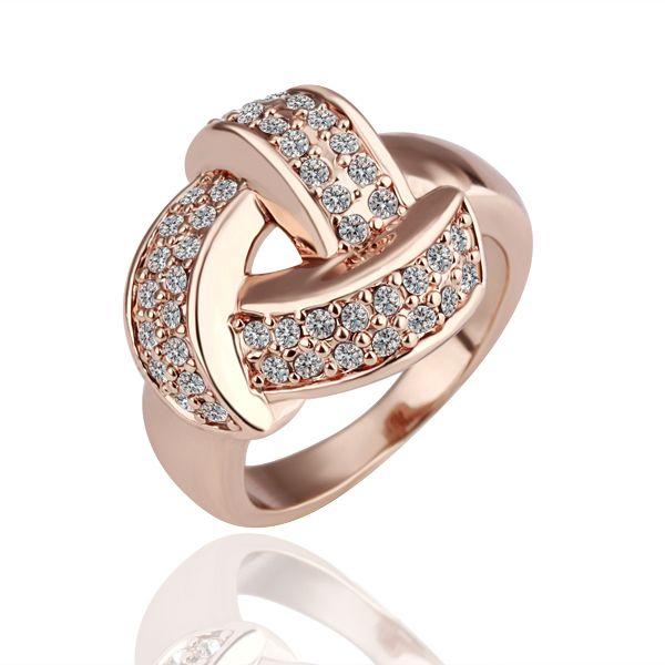18K rose Gold plated white gem Swarovski crystal Ring size 8